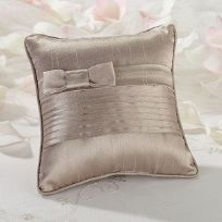 Taupe Pleated Silk Wedding Ring Cushion